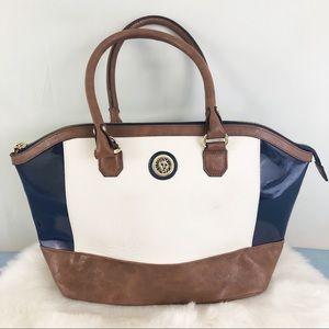 Anne Klein Color Block Shoulder Bag Blue White